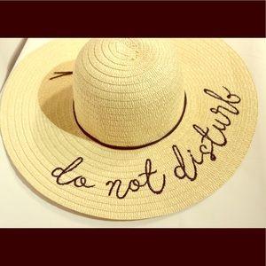 'Do Not Disturb' Embroidered Floppy SunHat